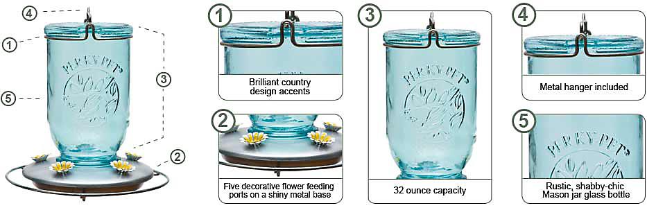 Perky-Pet® Mason Jar Glass Hummingbird Feeder