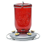 Perky-Pet® Red Mason Jar Glass Hummingbird Feeder