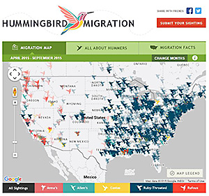 Birdfeeders.com Hummingbird Map