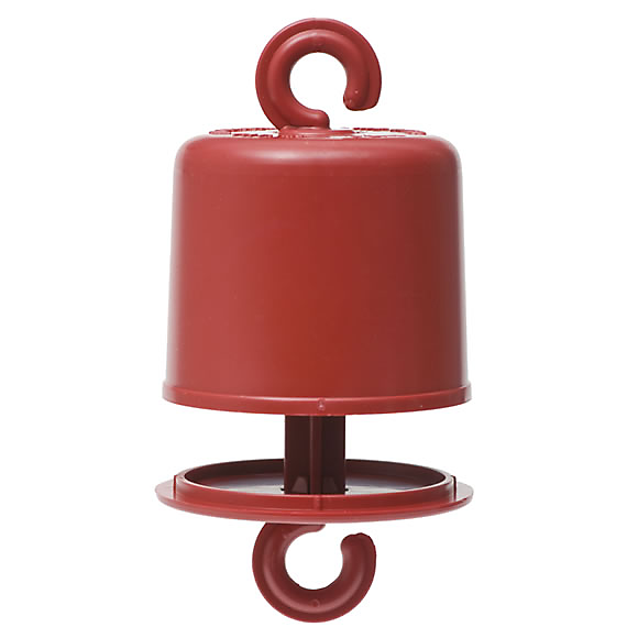 An Ant Guard® from Perky-Pet® will repel ants from a hummingbird feeder.