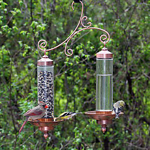 The Copper Sip & Seed allows you to offer bird seed and water from one station!