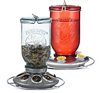 Perky-Pet® Mason Jar Duo - 1 lb Seed Capacity, 32 oz Nectar Capacity