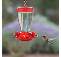 Perky-Pet® Red Hibiscus Top Fill Plastic Hummingbird Feeder - 16 oz Nectar Capacity