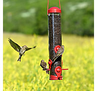 Perky-Pet® Red 2-in-1 Tube Bird Feeder - 1.8 lb Seed Capacity