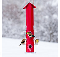 Perky-Pet® Red Metal Tube Bird Feeder - 1.5 lb Seed Capacity
