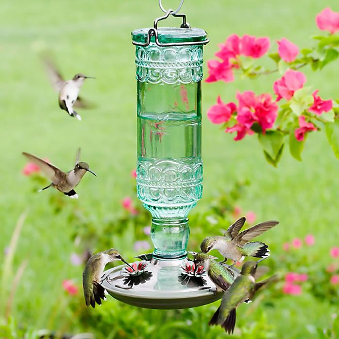 outdoors free shipping pearl with pin feeder drop hang feeding drifter flock hummingbirds this green for spun flower feeders glass hanging bird will hummingbird to wood sugar