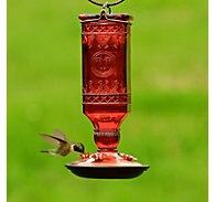 Perky-Pet® Red Square Antique Bottle Glass Hummingbird Feeder - 24 oz Nectar Capacity