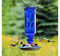 Perky-Pet® Cobalt Blue Antique Bottle Glass Hummingbird Feeder - 16 oz Nectar Capacity