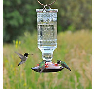 Perky-Pet® Clear Antique Bottle Glass Hummingbird Feeder - 24 oz Nectar Capacity