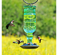 Perky-Pet® Green Antique Bottle Glass Hummingbird Feeder