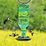 Perky-Pet® Green Antique Bottle Glass Hummingbird Feeder - 24 oz Nectar Capacity