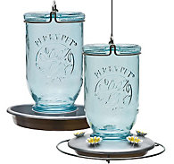 Perky-Pet® Mason Jar Glass Hummingbird Feeder and Waterer Set - 32 oz Capacity, Each