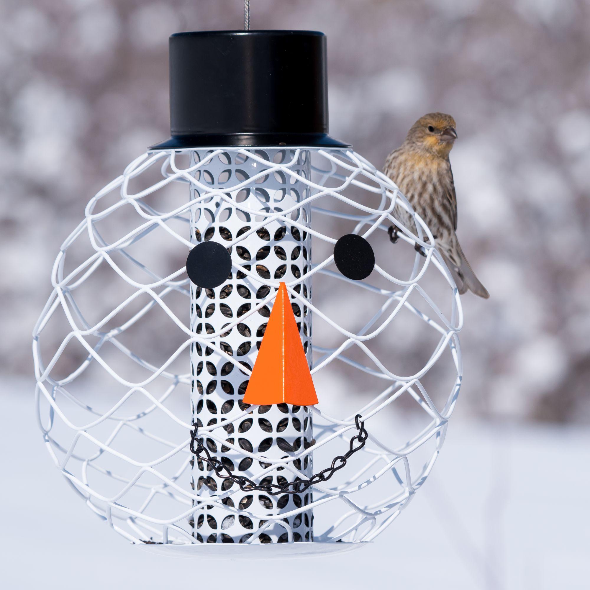 perky pet snowman head bird feeder