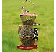 NO/NO® 3 Tier Standard Red & Brass Wild Bird Feeder