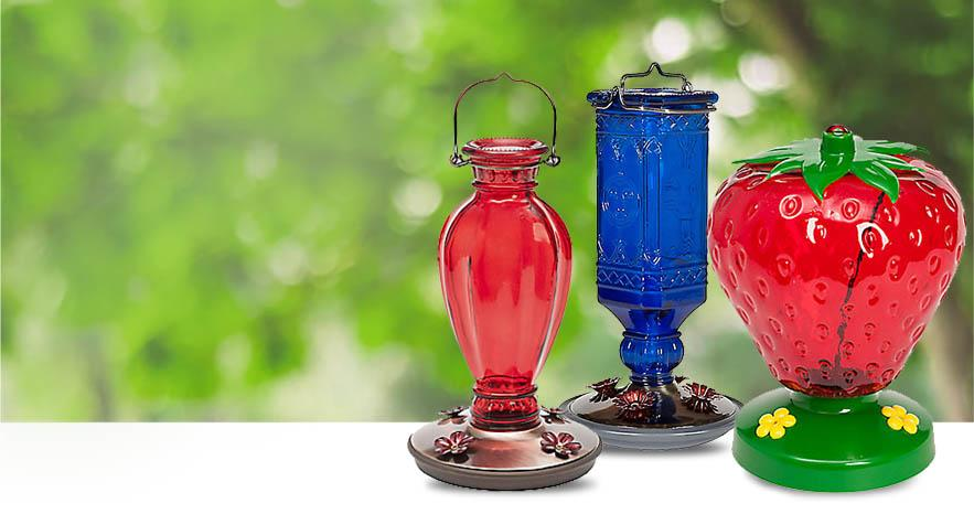 A selection of Perky-Pet Decorative Hummingbird Feeders