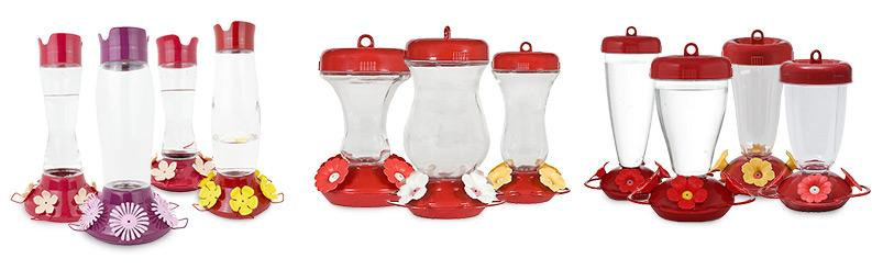 Traditional Glass and Plastic Hummingbird Feeders